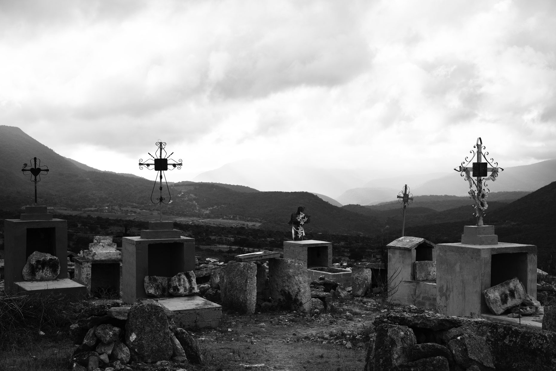 Mexican cemetery  in the mountains of Oaxaca